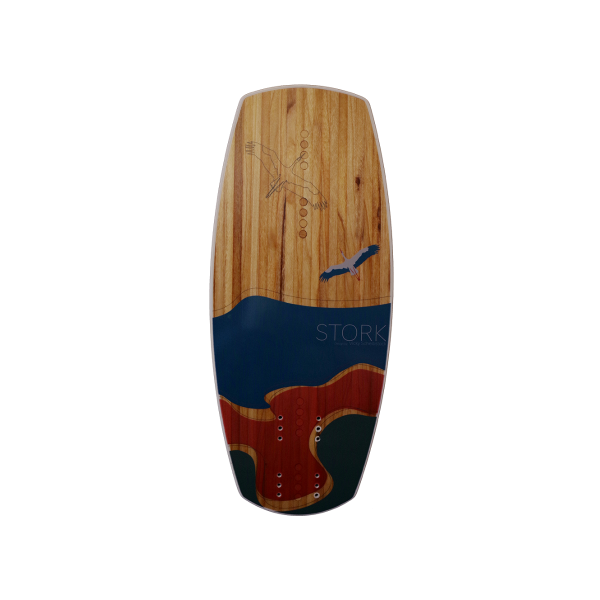 Woodboard Stork, foil kiteboard with a wood core for hydrofoiling.